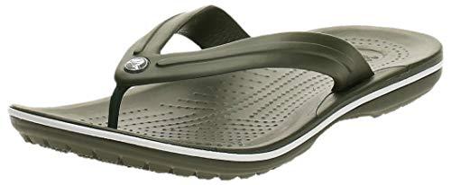 Crocs Crocband Flip Flop | Slip-on Sandals | Shower Shoes, army green/white, 4 US Men/ 6 US Women M US