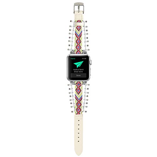 YOSWAN Adjustable Nylon and Leather Bracelet Compatible with Apple Watch Band 38mm 40mm Women, Wristband Braided Pattern Sport Strap for iWatch Series SE/6/5/4/3/2/1 (White, 38mm/40mm)