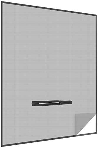infactory Insektenschutz: Fliegengitter mit Fenster-Zugang, 150 x 180 cm, zuschneidbar, schwarz (Fliegengitter mit Reißverschluss)
