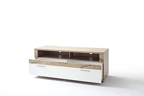 Dreams4Home TV-Lowboard 'Tyson' - Schrank, Kommode, Konsole, Sideboard, Phono Möbel, TV-Schrank, TV-Tisch, Aufbewahrung, TV-Kommode, B/H/T: 150 x 56 x 50 cm, in Crackeiche - weiß matt lackiert