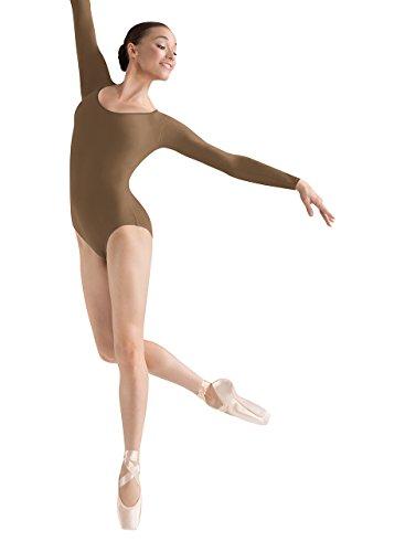 Bloch Dance Lepsi Damen-Gymnastikanzug, langärmelig, Damen, Lepsi Langarm-Trikot, Almond, X-Large