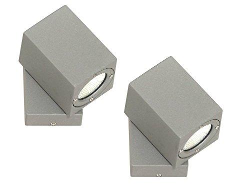 2er Set Aluminium LED Außenwandleuchte 3W schwenkbar, Downlight Terrassenlampen Fassadenleuchten