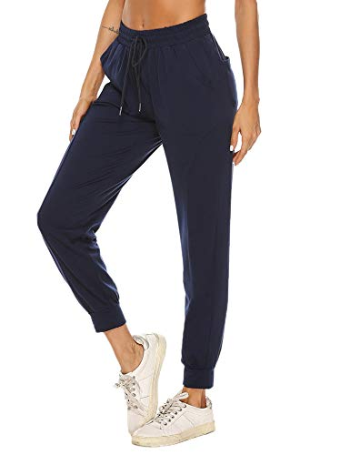 Hawiton Pantalon Chandal Mujer Largo Algodon Verano y Invierno Pantalon de Deporte Yoga Fitness Jogger Talla Grande