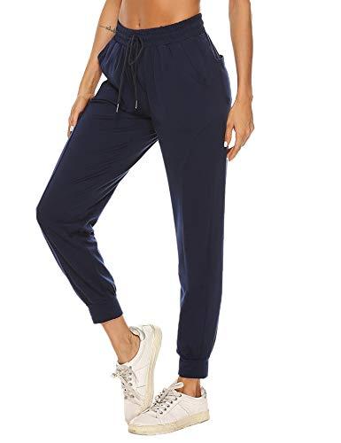 Hawiton Pantalon Chandal Mujer Largo Algodon Verano y Invierno Pantalon de Deporte Yoga Fitness Jogger Talla Grande, Azul Oscuro, S
