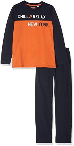 Sanetta Jungen Pyjama Long Zweiteiliger Schlafanzug, Orange (Cool Orange 2391.0), 128