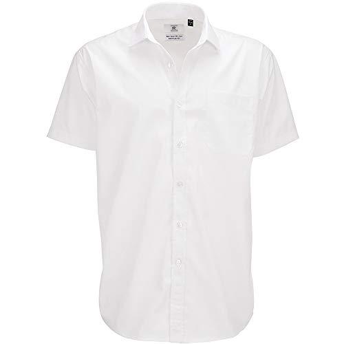 Chemise élégante à manches courtes B&C pour homme (2XL) (Blanc)