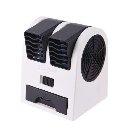 VK ELECTRICAL Mini Fan & Portable Dual Bladeless Small Air Conditioner Water Air Cooler Powered by USB & Battery Use of Home/office/Car/garden/classroom (pack of 1) black&white