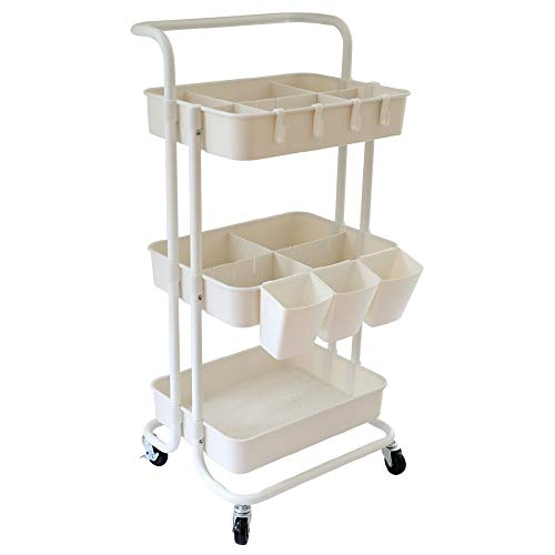Rolling Utility Storage Cart 3 Tier with Handles and Roller Wheels Craft Cart Organizer, Heavy Duty Wheeled Cart Tower Rack Trolley for Office Bathroom Kitchen Baby Room (White)