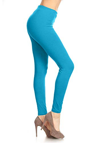 SXL128-Turquoise Basic Solid Leggings, Plus Size