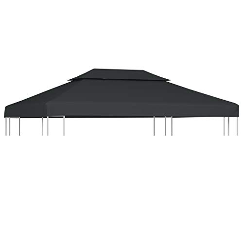 Festnight Prieeldak 2 lagen Pop-Up Outdoor Gazebo, Waterdicht Paviljoen Luifel Tentdak, Grote Marquee Shelter voor Patio, Achtertuin, Tuin, Evenement, Feest 4x3m 310 g/m² antraciet