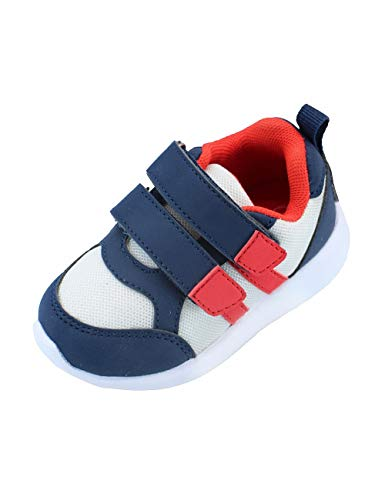 Gerber Sneakers Toddler Baby Boy, First Walking Soft Shoes for Baby - White/Navy/Red, Size - 6