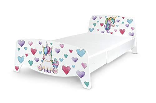 Leomark Cama con regulación del Largo - Sophia - Moderno Dormitorio para Niños, 3 ajustes de Longitud, Espacio para Dormir: 200/90 (Colchón 90x140 + 2 x 30/90 cm) Unicorn