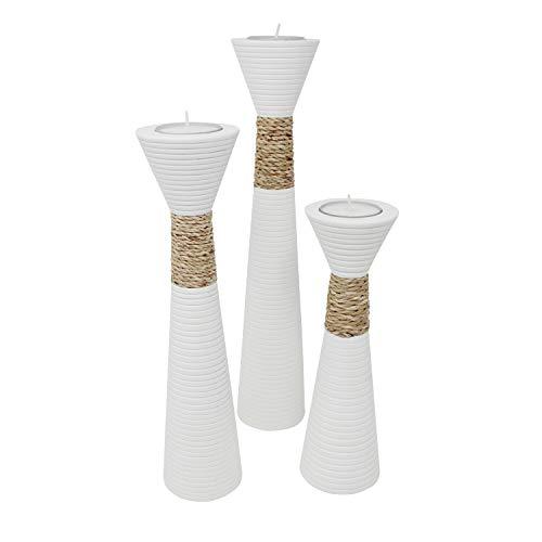 Trendy Wood & Light Trippel weiß Kerzenhalter Teelicht Dekoartikel Holz Tischdekoration Kerze Kerzenständer (Trippel weiß)