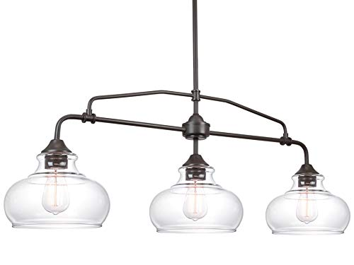 Kira Home Harlow 37.5' Modern Industrial Farmhouse 3-Light Island Light with Clear Glass Shades, Adjustable Hanging Height, Oil Rubbed Bronze Finish