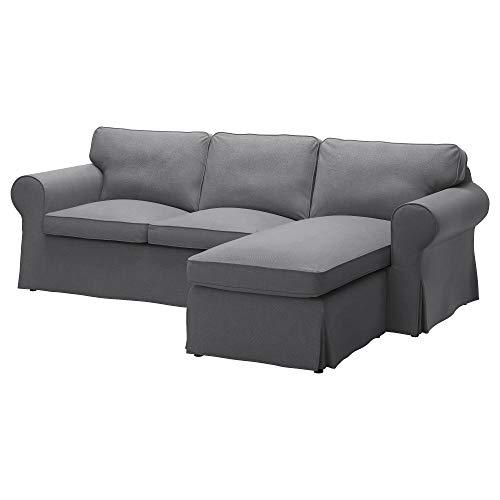 IKEA Cover for Ektorp 3-Seat Sofa (Loveseat w/Chaise) Nordvalla Dark Gray