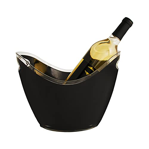 True Modern Ice Bucket, Holds 2 Wine or Champagne Bottles, 10.75' by 8', Black And Clear