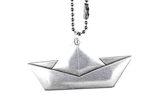 Miniblings Papierschiff Segelschiff Origami Halskette - Handmade Modeschmuck I Kette mit Anhänger Länge: 80cm - Boot versilbert flach XL