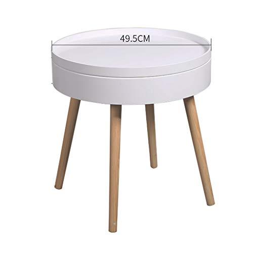 Tables basses Chariot à thé Petite côté canapé Table Ronde Chambre à Coucher Chevet Mini Table à thé Mobile (Color : Blanc, Size : 50 * 50 * 51.5cm)