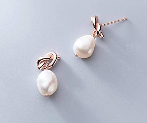 LOt Pendientes de Plata S925 para Mujer Pendientes de Línea Corta de Perlas Barrocas de Nudo Simple de Estilo Japonés para Mujeroro rosa