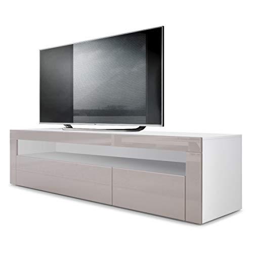 Vladon TV Board Lowboard Valencia, Korpus in Weiß matt/Front in Sandgrau Hochglanz mit Rahmen in Sandgrau Hochglanz