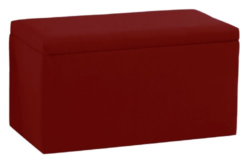 Smarty Pants Kid'S Storage Bench By Skyline Furniture In Cardinal Red Cotton