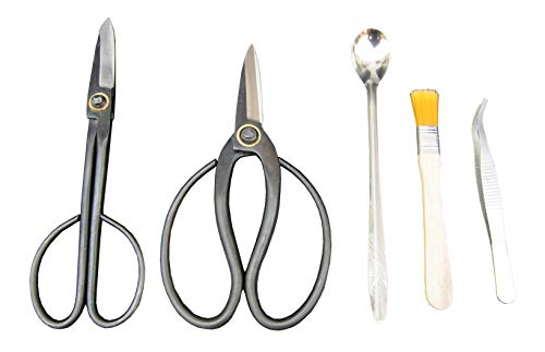2Piece Forged Bonsai Shear Set, Bonsai Tools Incl. Stainless Steel Spoon, Tweezer, Dust Brush as Bonus, Professional Bonsai Trimming Shears 2-Pack