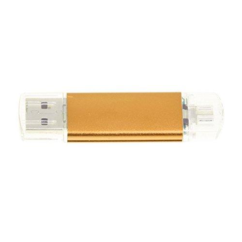 TOOGOO(R) Memoria 32GB USB Unidad OTG + mini USB Unidad de flash para ordenador portatl Oro