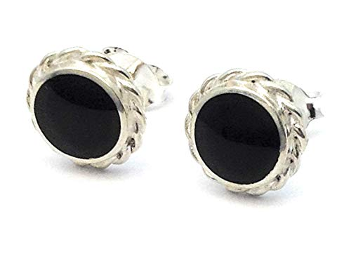 whitby jet and sterling silver rope edge stud earrings handmade in whitby