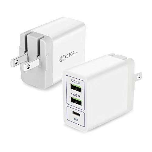 CIO USB PD 充電器 コンセント Type-C 急速充電器 Android iPhone スマホ QC3.0 ACアダプター 携帯 アンドロイド タイプC 3ポート Xperia Galaxy iPad対応 (ホワイト)