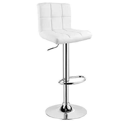 Zplyer barkruk retro eetkamerstoel moderne minimalistische kruk geschikt voor café-restaurant barkruk, lederen zitverstelling 60-82 cm wit