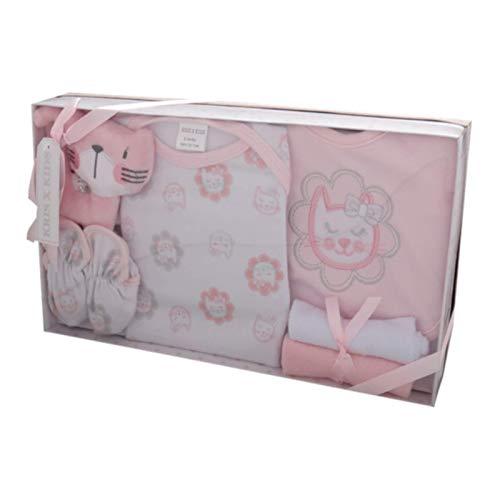 Caja de regalo para recién nacido de 7 piezas, de 0 a 3 meses Disponible en color azul o rosa rosa Juego rosa. Talla:recién nacido