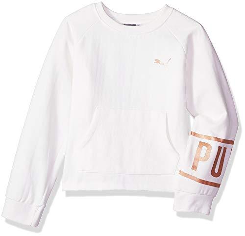 PUMA Big Girls' Fleece Sweatshirt, Whisper White, M
