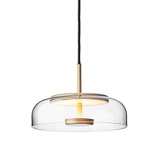SDFDSSR Lámpara Colgante E27 De Estilo Minimalista, Lámpara Colgante De Vidrio Transparente, Lámpara Colgante De Un Solo Cabezal, Lámpara Colgante Ajustable, Adecuada para Isla De Cocina(23 Cm)