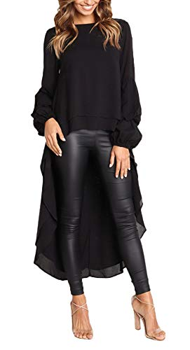 Bluse Damen Frühling Herbst Langarm Rundhals Irregular Bekleidung Hemden Vokuhila Asymmetrisch Oberteile Frauen Elegante Lässig Trendigen Normallacks Tunika Tops ( Color : Schwarz , Size : S )
