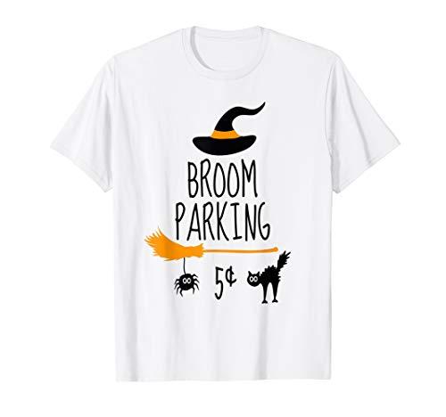 Besen Parkplatz Hexe Halloween Lehrer Mutter Frau Katze T-Shirt