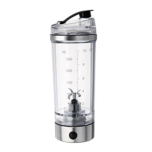 6SHINE - Bottiglia elettrica per agitatore, resistente agli odori e alle macchie, facile da pulire, portatile, con batteria auto-agitante, per varie polveri (trasparente+nero)