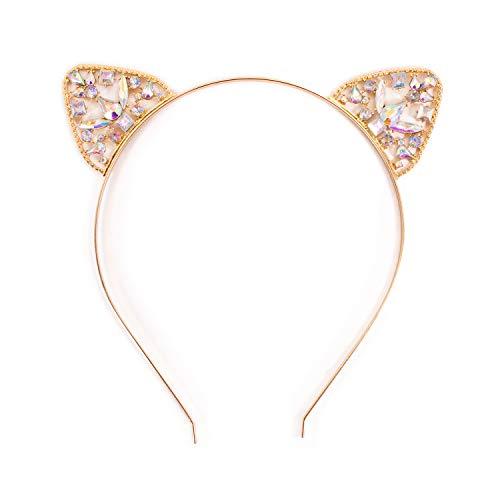 Oblique Unique® Haarreif mit Katzenohren und Strasssteinen in Gold aus Metall Kopfschmuck für Fasching Karneval Party
