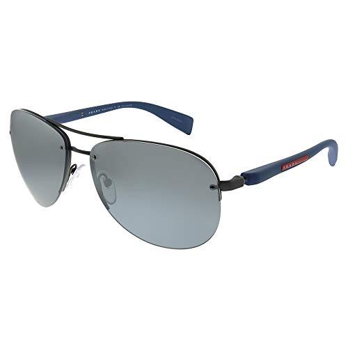Prada SPORT Herren 0PS56MS DG12F2 62 Sonnenbrille, Grau (Gunmetal Rubber/Polargreymirrorgradsilver)