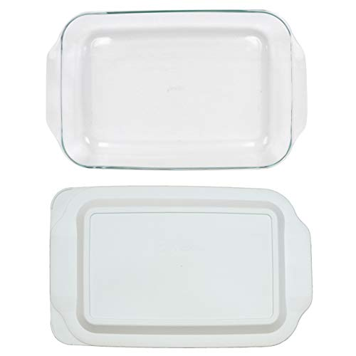 Pyrex (1) 233 Oblong Rectangle Clear Glass Casserole Baking Dish & (1) 233-PC White Lid