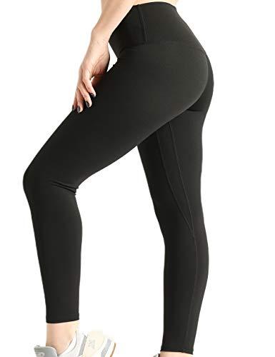 Compression Workout Leggings – Stretch Yoga Pants for Women - Premium 7/8 Length – Small - Black