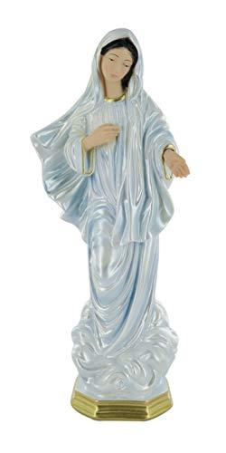 Ferrari & Arrighetti Imagen de la Virgen de Medjugorje de Yeso Pintada a Mano - 33 cm