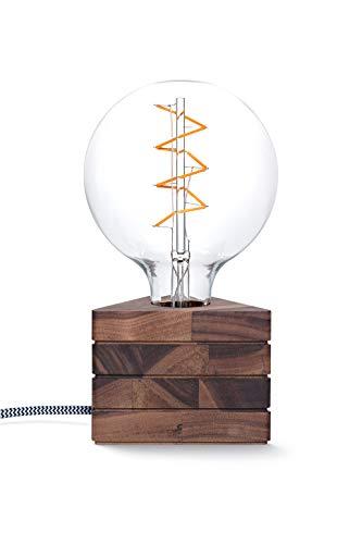 KERBHOLZ Lichtliebe Leuchte, B:114 mm x H:87 mm, dreieckige Holz Tischleuchte mit LED Retro Glühbirne, 1.5W, Tischlampe mit Edison retro industrial Glühbirne, Designleuchte aus Naturholz, Walnuss