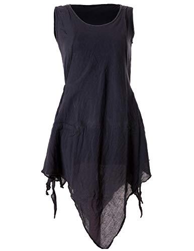 Vishes - Alternative Bekleidung - Zipfeliges Lagenlook Shirt Tunika aus handgewebter Baumwolle - im Used-Look schwarz 32