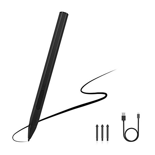 Stylus Pen for Surface, Rechargeable Magnetic Stylus, 4096 Levels Pressure, Tilt & Palm Rejection, Right Click & Erase Buttons with 3 Surface Pen Tips Replacement for Surface Pro/Go/Book/Laptop/Studio
