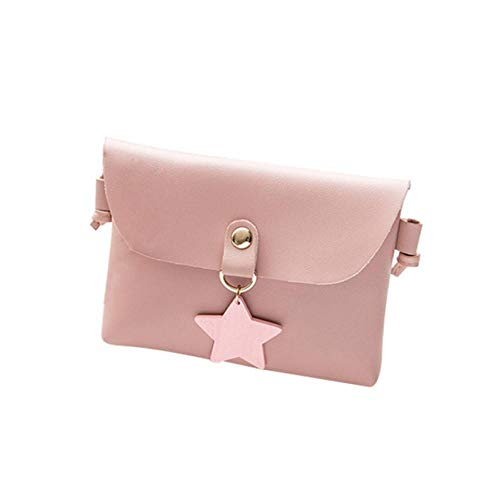 onedayday Damen Mini Crossbody PU Casual Schultertasche für Crossbody Bag mit Anhänger-Puder