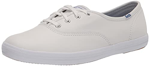 Keds Women's Champion Leather Sneaker, White, 9 Wide
