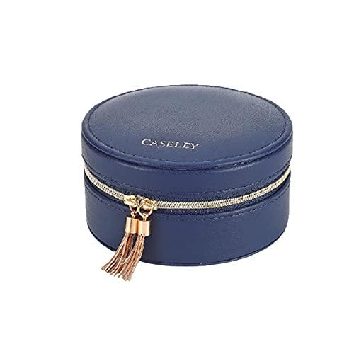 Bract Joyero pequeño de viaje, portátil, caja de joyería de forma redonda, caja de joyería para anillos, collares, pendientes, 3 colores