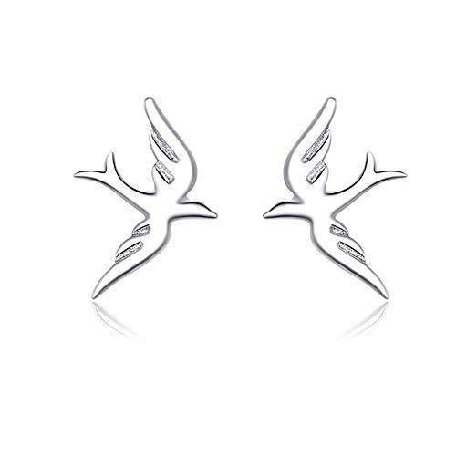 AMTBBK 925 Sterlingsilber-Anti-Allergie-Damen-Ohrringe, Smart-Vogel-Tier-Design Ohrstecker, Für Mädchen Mit Empfindlicher Haut, Mamma/Freundin/Geliebte
