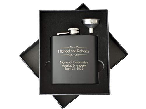 Personalized Hip Flask for Men   Best Man Groomsman Flask for Wedding   Stainless Steel Black Leather Flasks   Drinking Bottle for Alcohol Liquor Whiskey Rum Vodka Shot Flask (2pc Gift Box Set)