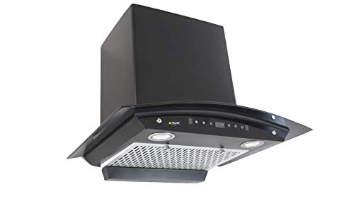 Felixe Auto Clean Filterless Kitchen Chimney Mavis Eco - Black 60 cm (2 Ft) Curved Glass, 1200 Suction with Motion Sensor and feather touch and with Installation Kit, 5 ft Expandable Pipe & Cowl.